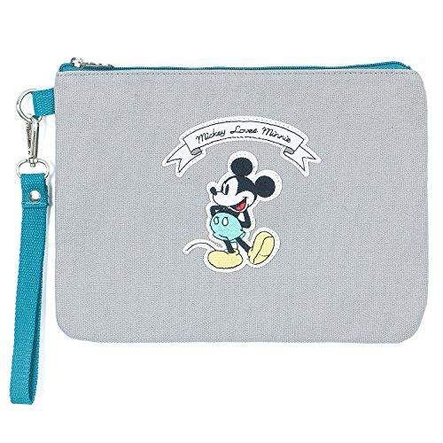 Canvas Cotton Clutch Mickey ililily Wristlet Vintage Mickey Patch Grey Disney Mini Pouch qIFwFRPX