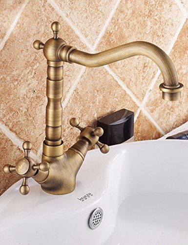 All Copper Antique Faucet Basin Double Hot And Cold Water Faucet One Hole Retro Table Bottom Basin Faucet by SJQKA