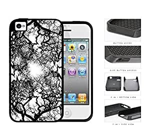 Black and White Natural Earth Tree Veins 2-Piece High Impact Dual Layer Black Silicone Cell Phone Case iPhone 4 4s