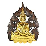 Enlightened Golden Buddha Bodhi Tree Leaf Wall Art