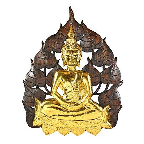 Enlightened Golden Buddha Bodhi Tree Leaf Wall Art by AeraVida