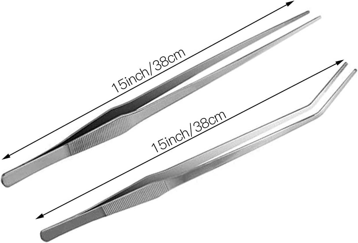 Feeding Tongs ACEONE Aquarium Tweezers Extra Long 15 inches 2 Pcs Stainless Steel Straight and Curved Tweezers for Fish Tank Plant Aquascape Tools