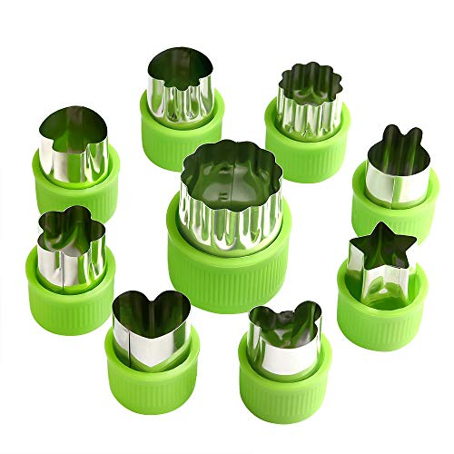 (FEPITO 9 Pcs Vegetable Cutter Shapes Set Fruit and Cookie Decorating Tools Flower Star Cartoon Animals Fruit Mold with Cleaning Brush)