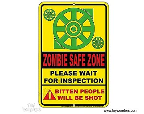 Amazon.com: Metal Sign: Zombie zona de seguridad. spszp2 ...