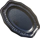14' Black Regal Foil Platters (Pack of 10)