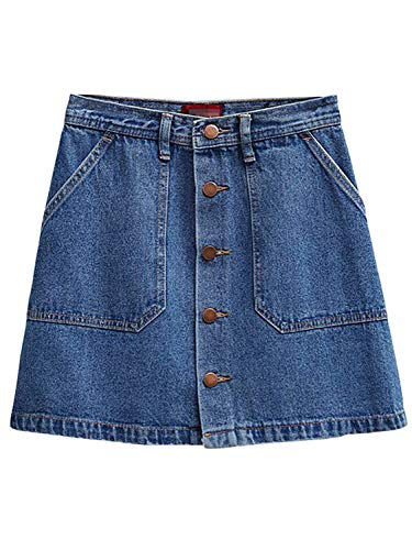 PERSUN Women's Button Front Denim A-Line Mini Skirt,L