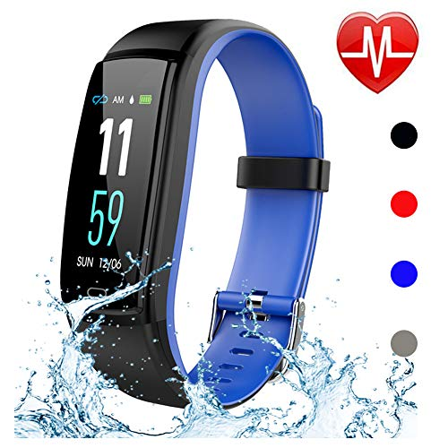 Qiufeng Fitness Tracker,Activity Tracker Smart Watch Health Bracelet Waterproof Wristband with Heart Rate Blood Pressure Pedometer Sleep Monitor Calorie Step Counter for Android and iOS (Blue) (Best Pregnancy Fitness App)