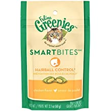 Greenies FELINE SMARTBITES Hairball Control Cat Treats Chicken Flavor 2.1 oz. With Natural Ingredients Plus Vitamins, Minerals, And Other Nutrients
