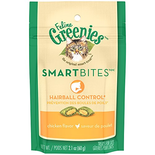 Greenies FELINE SMARTBITES Hairball Control Cat Treats Chicken Flavor 2.1 oz. With Natural Ingredients Plus Vitamins - Minerals - And Other Nutrients