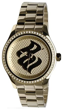 Rocawear Mens Rg348710 Signature Flame Gold Tone Watch Amazonco
