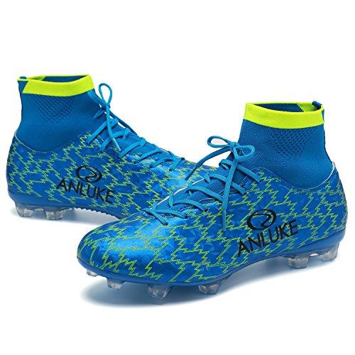 ANLUKE Männer Athletic Hightop Stollen Fußball Training Schuhe Fußball Team Turf T / Blau / Grün