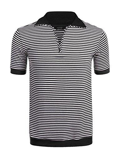 COOFANDY Mens Casual Quarter Zip Short Sleeve Striped Polo Shirts Contrast Collar Golf Tennis Shirt Tops