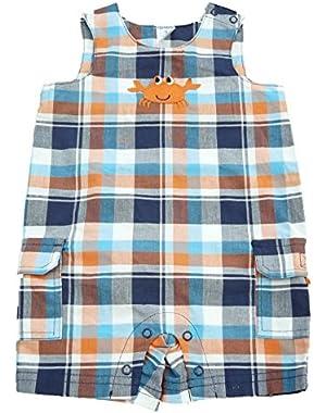 Carters Infant Boys Blue & Orange Plaid Crab Overalls