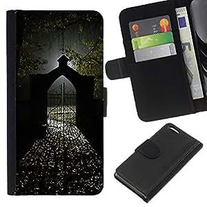 A-type (Gate Light Halloween Dark) Colorida Impresión Funda Cuero Monedero Caja Bolsa Cubierta Caja Piel Card Slots Para Apple iPhone 5C