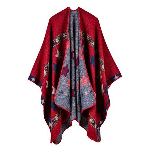 Gwell Ponchos Capes Femme Large Echarpe Châle Hiver Motif étoile Rouge 130 x 150 cm