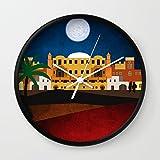 Society6 Arabian Nights Wall Clock Black Frame, White Hands
