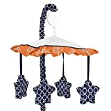 Sweet Jojo Designs Orange and Navy Musical Baby Crib Mobile for Arrow Collection