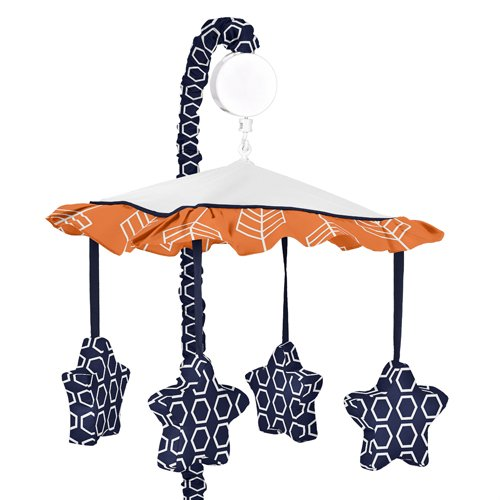 Sweet Jojo Designs Orange and Navy Musical Baby Crib Mobile for Arrow Collection by Sweet Jojo Designs