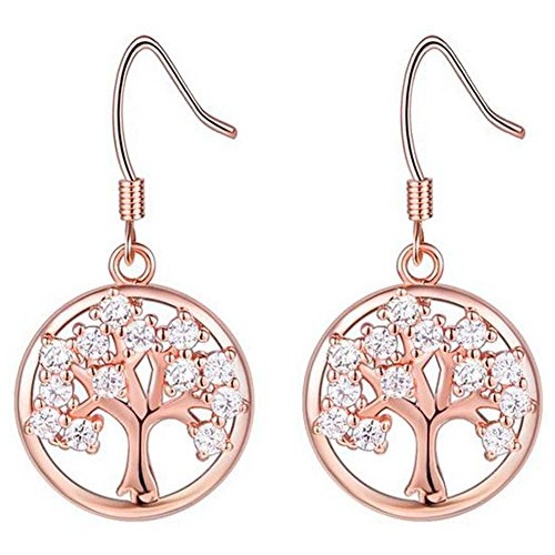 Elakaka Women's Christmas Tree Copper Gilt Earrings(Pink)