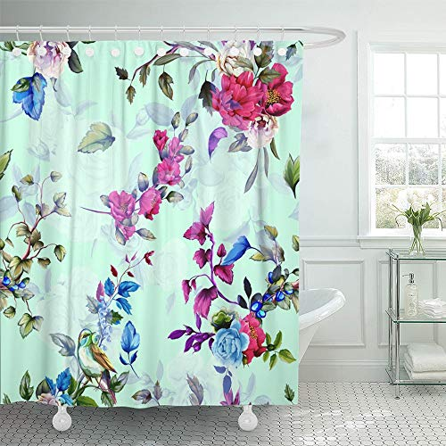 - Emvency Shower Curtain Waterproof Decorative Bathroom 72 x 72 inches Wild Flowers Peony Roses Nightingale and Pomegranate Buds with Branch and Leaves Polyester Fabric Set with Hooks