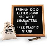 Black Felt Letter Board 10x10 Inches, Changeable Letter Board with 480 White Plastic Letters,Symbols,Emoji and Numbers, Oak Wood Frame with Stand,Letter Sign with Mounting Hook,Canvas Bag and Scissors