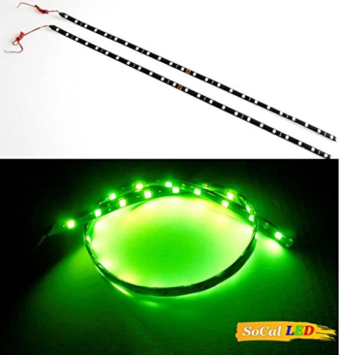 """SOCAL-LED 2x 60cm 24"""" Green Flexible LED Strips High Power Bright 5050 12 SMD Car DRL Under Dash Accent Light, Waterproof, Cuttable"""