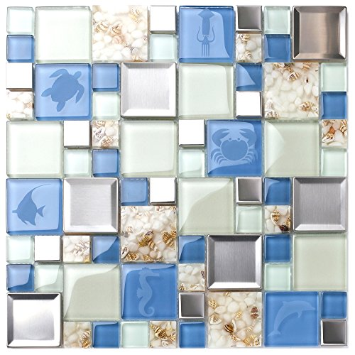 Beach Tile - New Idea Tile Kitchen Bath Backsplash Accent Wall Decor TST Glass Metal Tile Marine Animals Icon Beach Style Inner Conch Sea Blue Mosaic Tiles TSTNB11 (11 Square Feet)