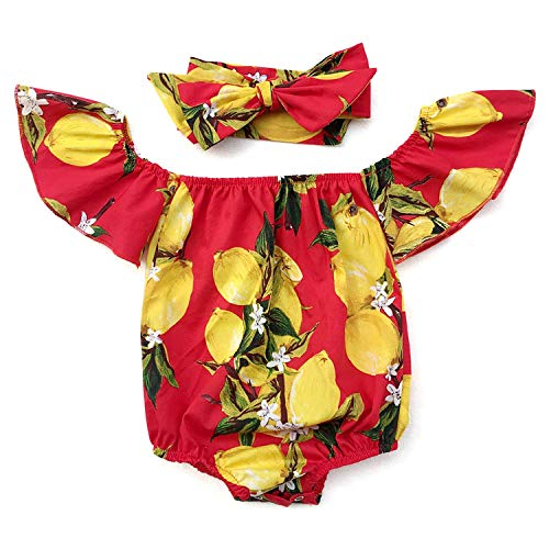 iClosam Baby Girl's Floral Print Ruffles Off Shoulder Romper Summer Clothes with Headband (#1Red, -