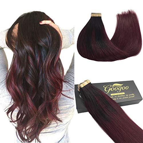 (Googoo 18inch Ombre Tape in Hair Extensions Balayage Black to Brugundy Skin Weft Tape in Human Hair Extensions Natural Hair 20pcs 50g)