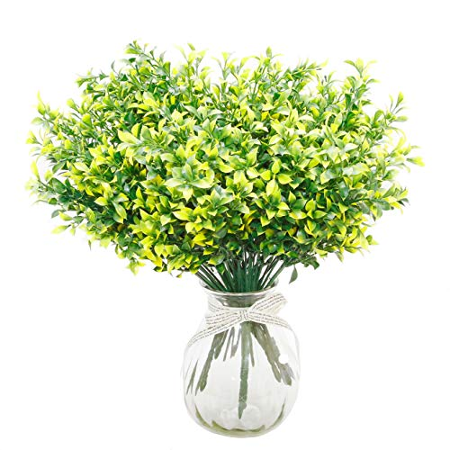 8 Bundles Artificial Plants Fake Greenery Flower Bouquet Faux Plastic Plants UV Resistant for Farmhouse Outdoor Home Garden Office/Wedding Decoration (Green with Yellow-Sided)