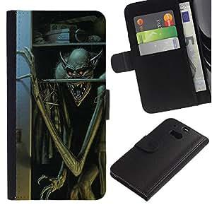 APlus Cases // HTC One M8 // Monster Boogie el hombre de Halloween los niños // Cuero PU Delgado caso Billetera cubierta Shell Armor Funda Case Cover Wallet Credit Card