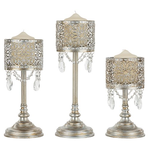 Amalfi Decor Victoria 3-Piece Antique Silver Hurricane Candle Holder Set with Crystals Metal Pillar Wedding Accent Stand