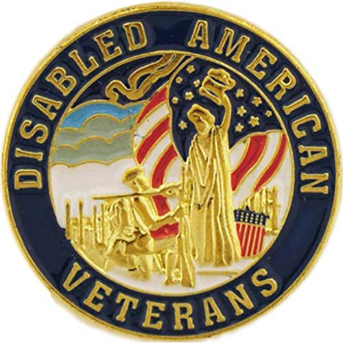 Disabled American Veterans Pin Round Lapel Pin Military Patriotic Medals and Gifts