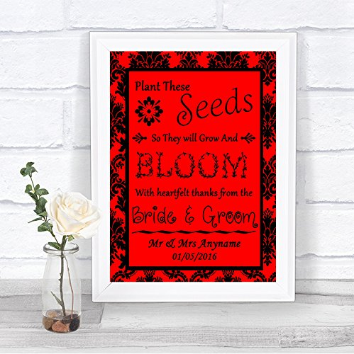 The Card Zoo Red Black Damask Plant Seeds Favours Personalized Wedding Sign
