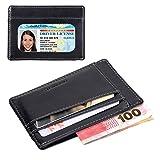Eazymate Unisex Genuine Leather Credit Card Holder Wallet, Super Slim Wallet, The Best Front Pocket Wallet With Money Clip For Men and Women (Black)