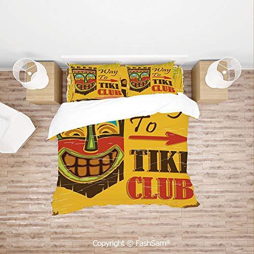 Penguin Club Basketball - FashSam Duvet Cover 4 Pcs Comforter Cover Set Way to Tiki Club Vintage Poster Design Grunge Polynesian Exotic Retro Print Decorative for Boys Grils Kids(King)