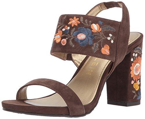Anne Klein Women's Orinda Suede Heeled Sandal, Medium Brown, 8.5 M US ()