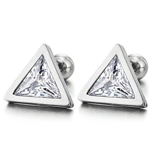 9mm Triangle Cubic Zirconia Stud Earrings for Men Women, Stainless Steel, Screw Back Post, 2pcs