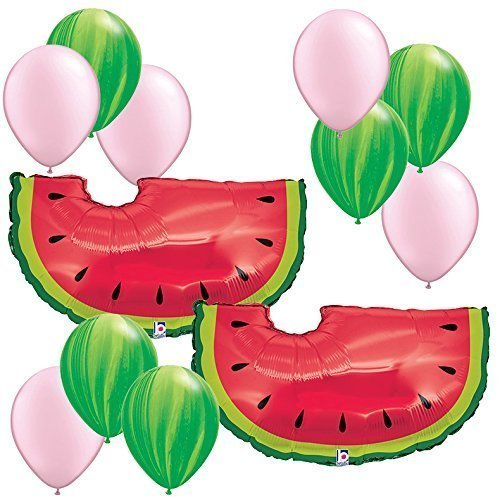 Watermelon Theme Decorations - 35'' Watermelon Balloons 12pc Assortment - Fiesta Birthday Party Foil Mylar Latex Balloon Bundle Pack by Fiesta Tribe