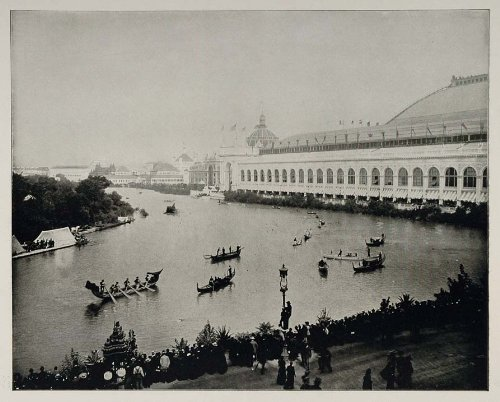 1893 Chicago World's Fair Boat Transportation Day Photo - Original Halftone Print from PeriodPaper LLC-Collectible Original Print Archive