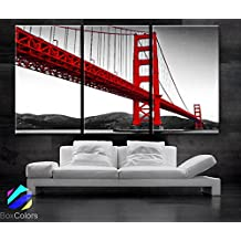 "Large 30""x 60"" 3 Panels 30x20 Ea Art Canvas Print Beautiful Golden Gate Bridge San Francisco California Black White Red Wall Home (Framed 1.5"" Depth)"
