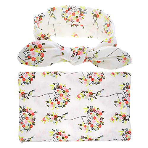 Baby Sleep Swaddle Blanket Large and Bow Headband Set Ananas Flower Print...