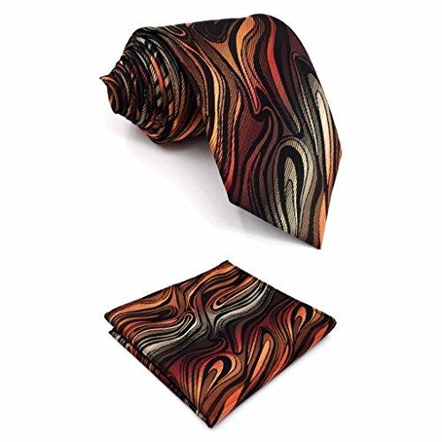 Shlax&Wing New Mens Necktie Pocket Square Set 57.5' 63' Extra Long Silk Tie Set