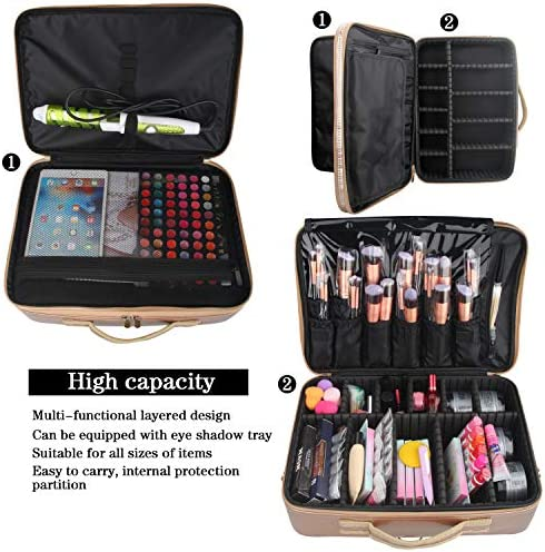Large Professional Makeup Train Case, Rose Gold Waterproof Travel Cosmetic Bag 3 Layer Cosmetic Case With Adjustable Detachable Shoulder Strap