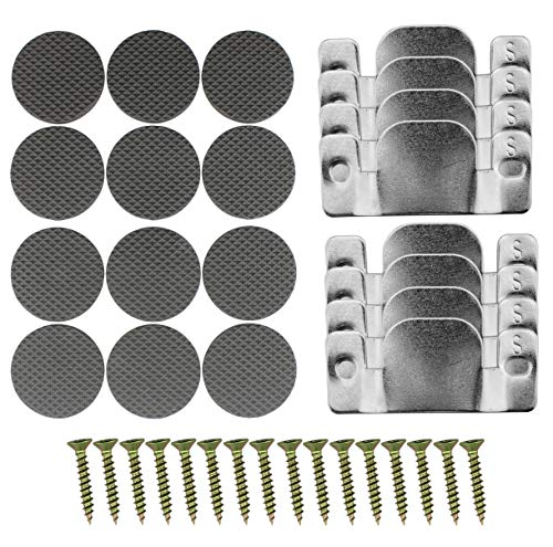 Universal Sectional Sofa Connector Brackets (8-Pack); Complete Set with Screws and Furniture Pads