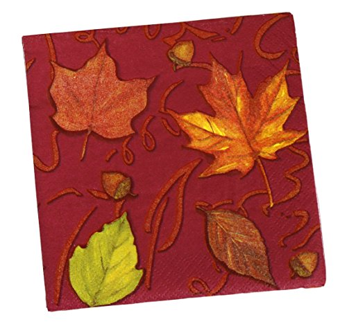 Leaves Beverage Napkins - Party House 72 Beverage Napkins, 2 Ply, 10 x 10 Inch, Fall Leaves