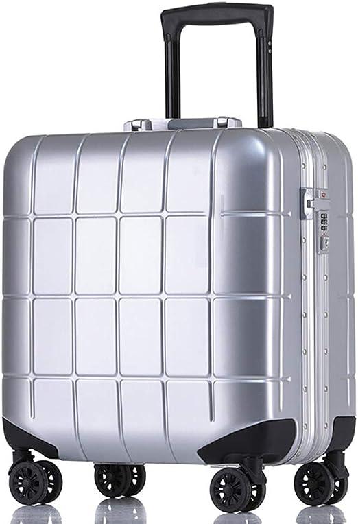 Estuche para equipaje Estuche para equipaje con marco de aluminio Business Travel Airbox Caja de embarque Rueda universal de 18para hombres y mujeres Contraseña Maleta Caja pequeña Airbox de 18 Negr: Amazon.es:
