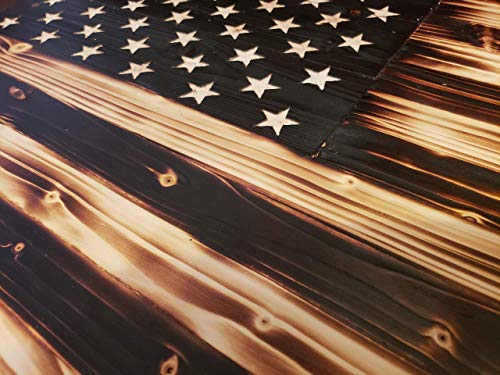 (Extra Large Rustic Burned Wood American Flag)