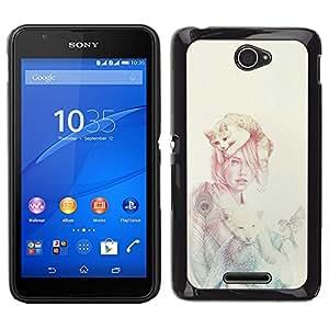 KLONGSHOP // Cubierta de piel con cierre a presión Shell trasero duro de goma Protección Caso - Mujer Gato - Sony Xperia E4 //