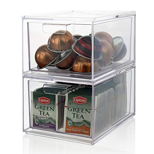 (STORi Stackable Clear Plastic Coffee Pod and Tea Bag Organizer Drawers | set of 2)